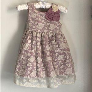 Laura Ashley London Mauve Lace Overlay Dress. 18M